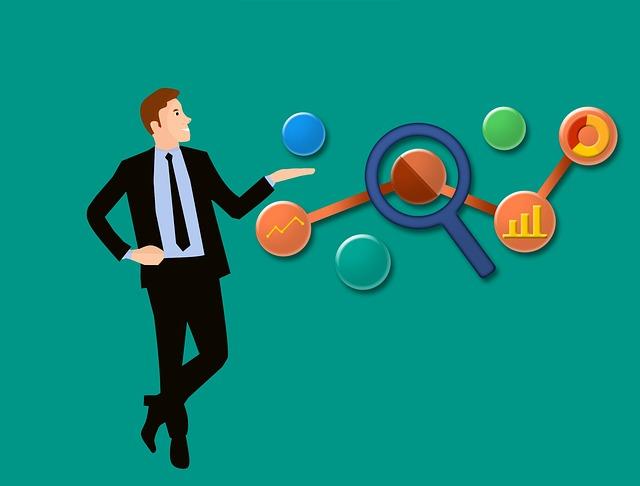 obchodní muž a analyza